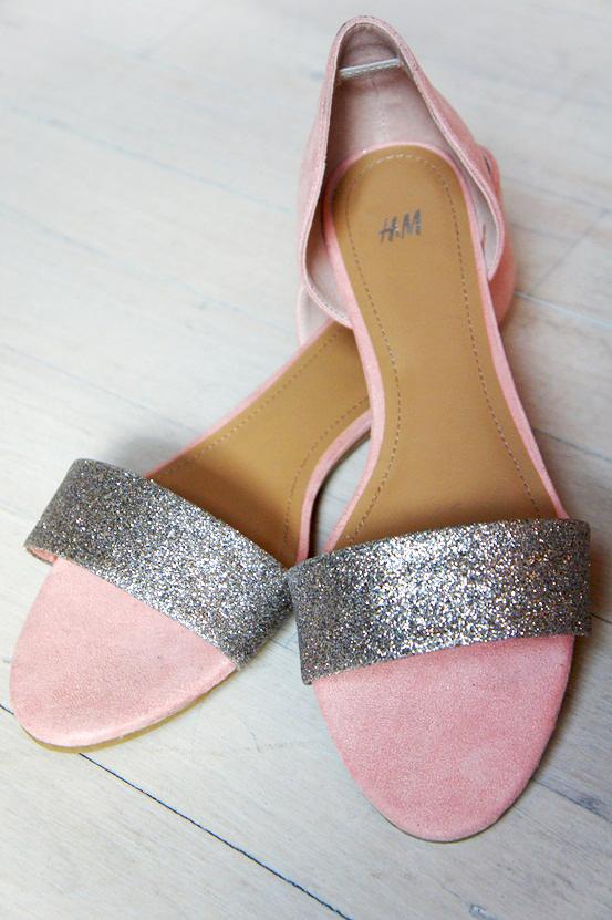 h&M sandaler, pudderfarvet sølv glimmer sandaler, pink silver sandals