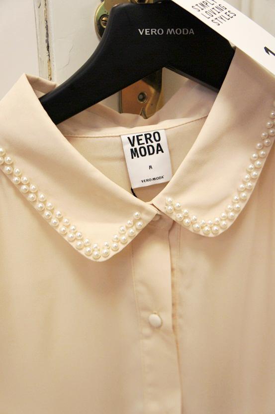 vero moda aw12, skjorte med perlekrave, shirt with pearl collar