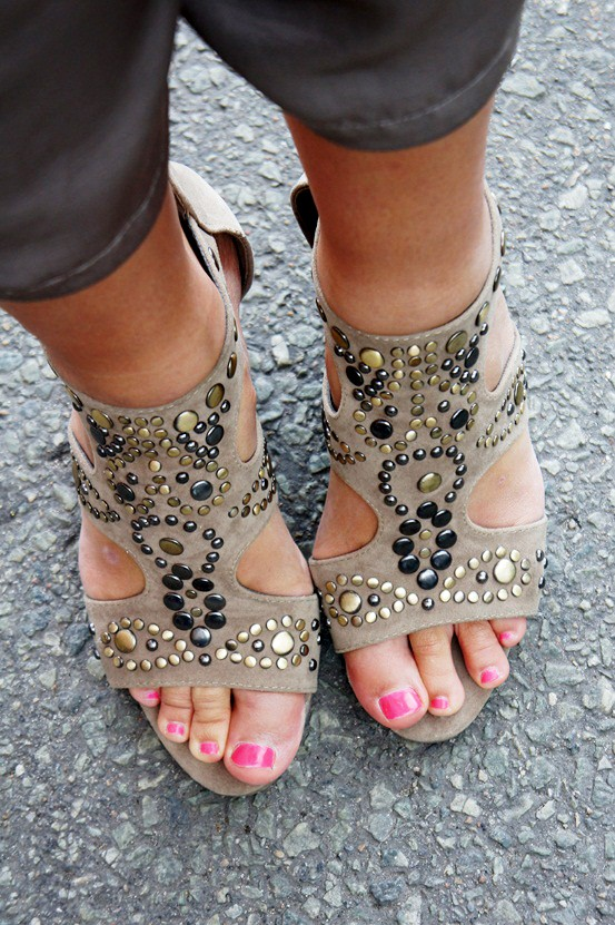 studded wedges sandals, nitte kilehæle sandaler Deichmann