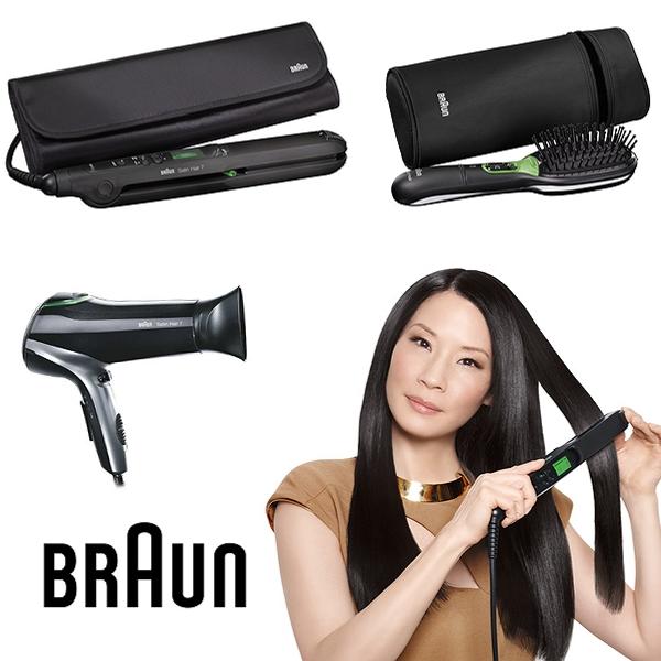 Braun Satin Hair, Lucy Liu Braun, vind glattejern, hårbørste, føntørre