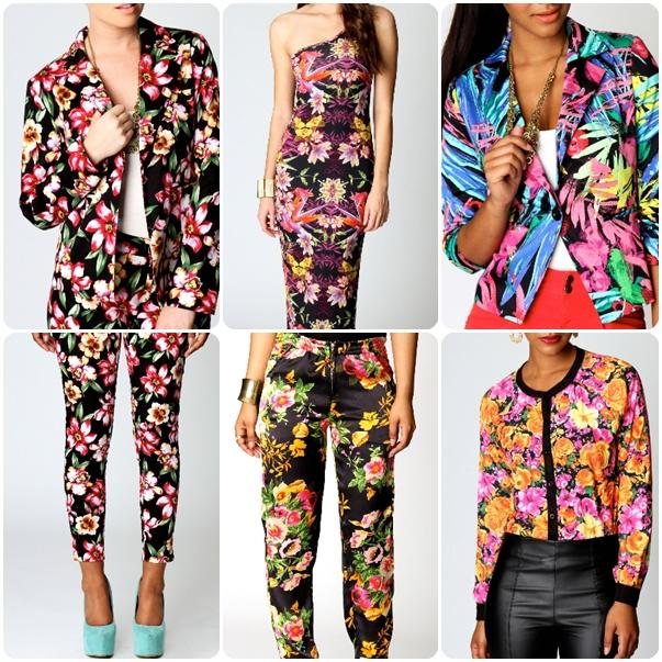 Tropical Print One Shoulder Maxi Dress, Satin Large Floral Trouser, floral cardigan, Floral Print Trousers, Tropical Brush Print Blazer, floral print blazer, blomster bukser, blomster jakkesæt, blomster print jakke, blomster print cardigan, blomster print kjole