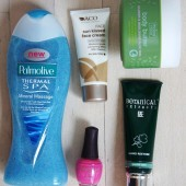 palmolive thermal spa mineral massage, aco sun kissed face cream, sparitual strike a pose nail polish, matas natur body butter, botanical extracts hand restore