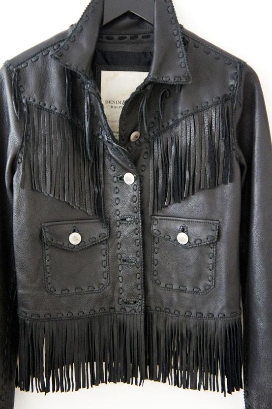 denim ralph lauren, frynsejakke, læder frynsejakke, fringe jacket