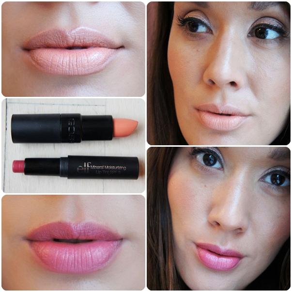 elf mineral Moisturising Lip Tint Spf 8 Berry, GOSH Velvet Touch Lipstick mandarina 152, lipstick swatches, test af læbestift