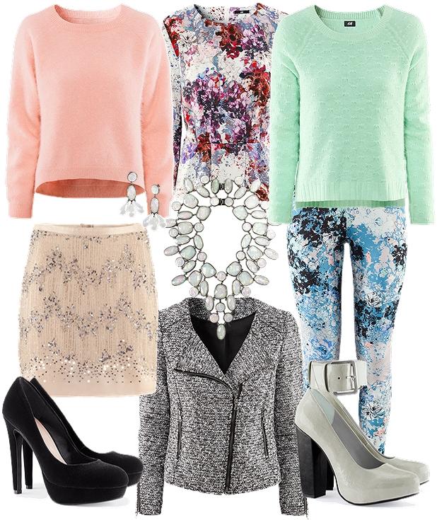 hm efterår 2012, rosa angorasweater, lyserød angorasweater h&m, palietnederdel hm, H&M fall 2012, BIB necklace