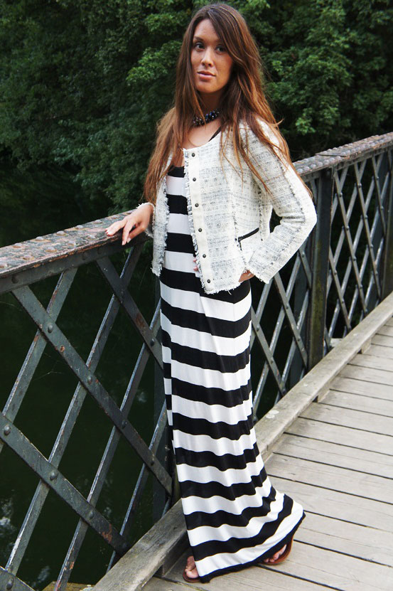 stribet maxikjole hm, striped maxi dress hm