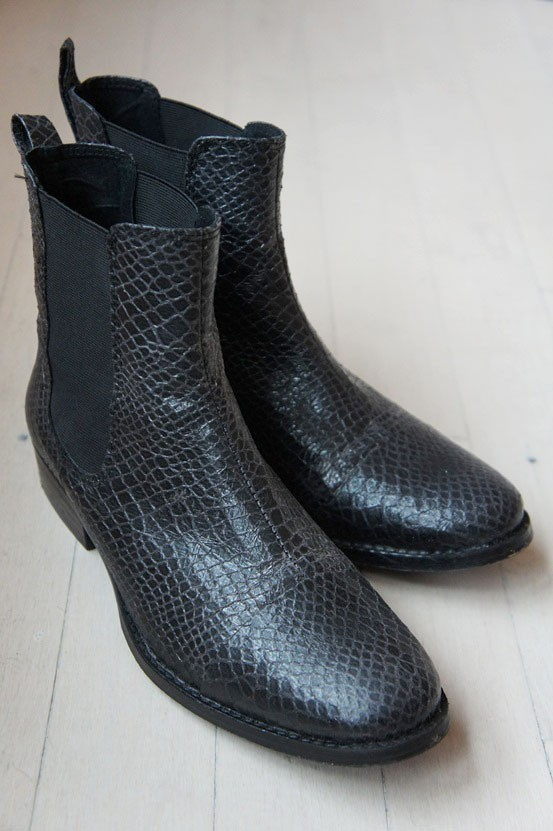 Pavement  sorte læder støvler, black snake pattern boots, Pavement støvler, sorte lave støvler, sorte læder støvler