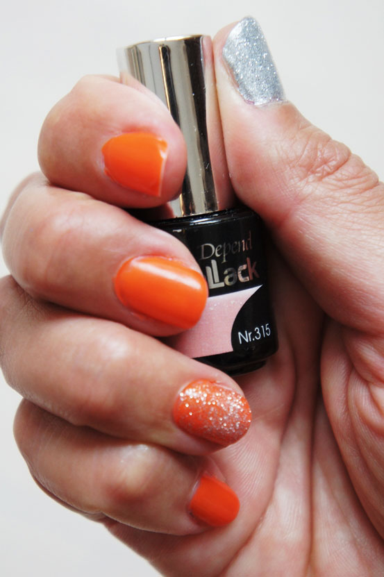orange gele negle, depend orange neglelak, glimmer lak depend, orange ge nails