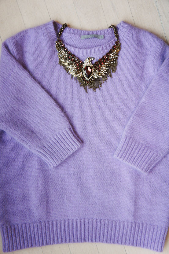 lyselilla angora sweater, lavender angora sweater, cos sweater, lavendelfarvet sweater
