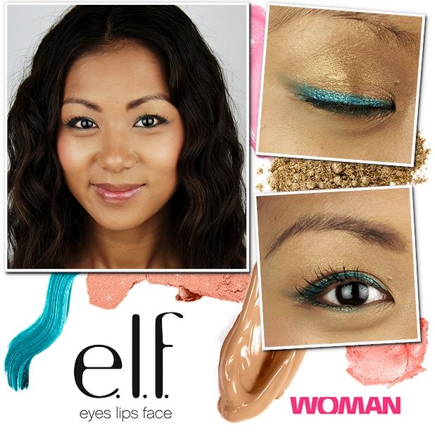 elf cosmetics beauty guide, woman elf, makeup guide, turkis streg, gylden øjenskygge