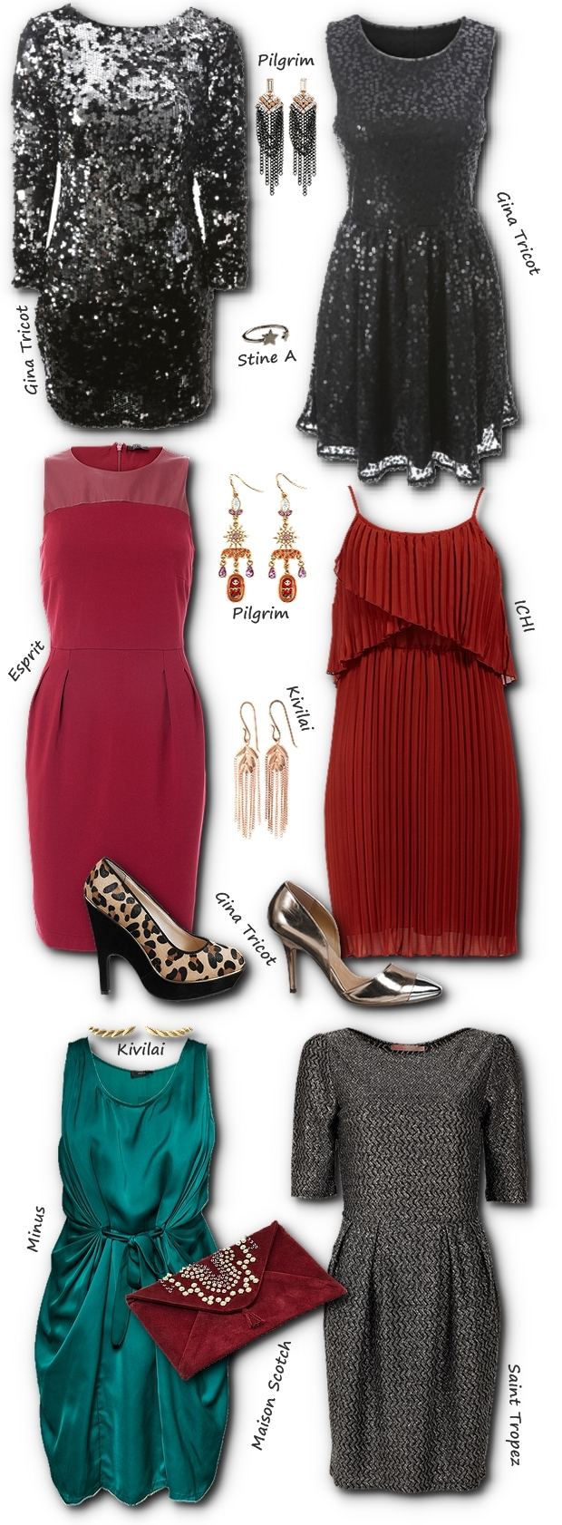 ESPRIT rød kjole, ESPRIT red dress, gina tricot sko, gina tricot leopard sko, gina tricot shoes, ichi red dress, ichi rød khole, plisseret rød kjole ichi, Maison Scotch clutch, Maison Scotch red clutch, Maison Scotch taske, stne a stjernering, stine a smykker, Kivilai smykker, Kivilai jewellery , Kivilai earrings, Kivilai øreringe, minus kjole, minus grøn kjole, minus tøl green silk dress, pilgrim smykker, pilgrim øreringe, saint tropez kjole, grå kjole, pallietkjole gina tricot, julefrokost kjole, sequin dress