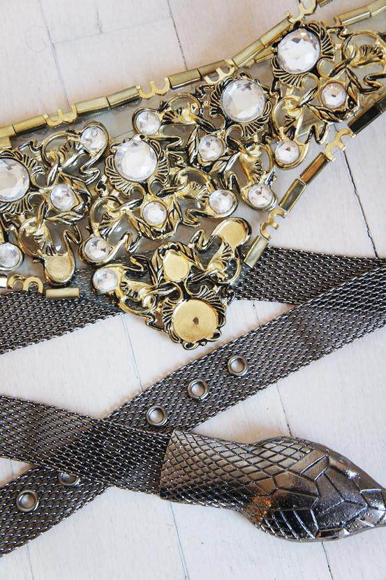 vintage bælte, metal slange bælte, snake belt, big vintage belt, stort genbrugsbælte, guld vintage bælte