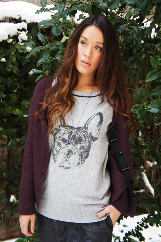 strik med print af  fransk bulldog, moxy copenhagen sweater, moxy copenhagen tøj, moxy copenhagen clothes