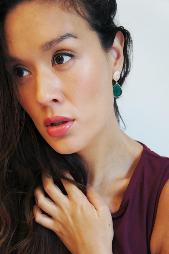 frk lisberg, frk lisberg smykker, frk lisberg øreringe, grøn onyx øreringe, guld øreringe