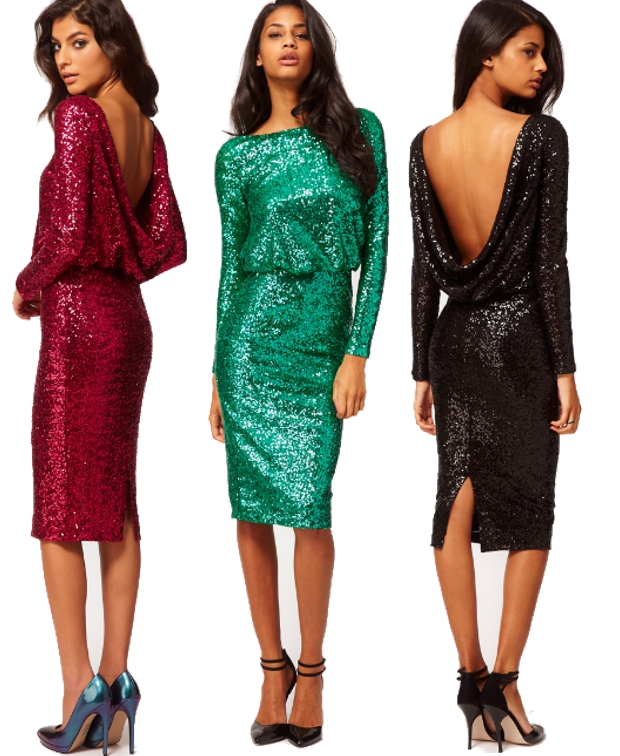 ASOS Sequin Cowl Back Dress, green sequins dress, red sequins dress, black sequins dress, asos pallietkjole, julekjole, christmas dress