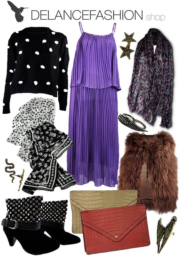 Englevinge Ring, delancefashion shop, lilla kjole, leopard tørklæde, prikket sweater, stor clutch, nitte støvler, Brun Tibetansk Lammepels Vest, fur vest, skulle scarf, dødningehoved tørklæde, stjerne tørklæde