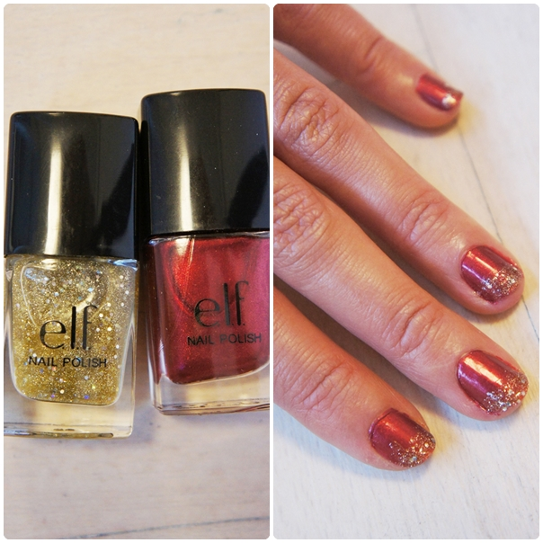 jule neglelak, elf cosmetics red velvet neglelak, elf red velvet nail polish, christmas nails