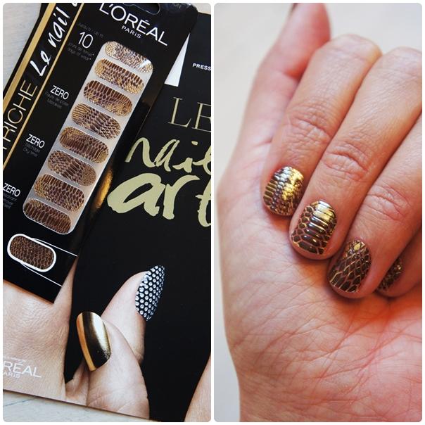 l'oreal color riche le nail art, nailwraps, neglekunst, guld slange negle, nail stickers, negle klistermærker, 006 chic python
