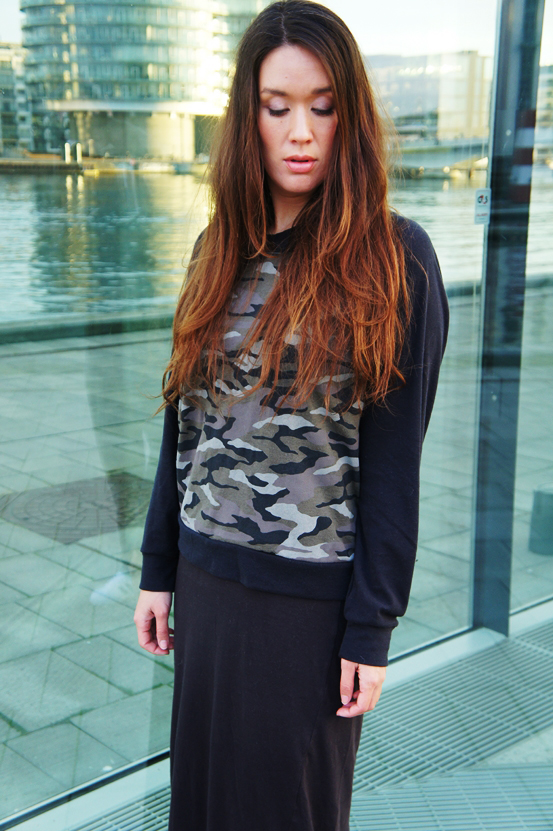 gina tricot, army sweatshirt, gina tricot amy bluse, army print blouse
