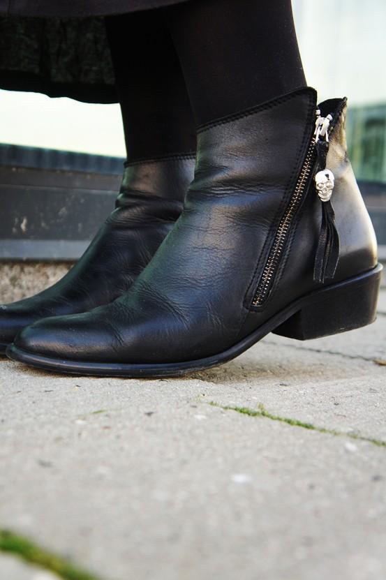 sorte flade ankelstøvler