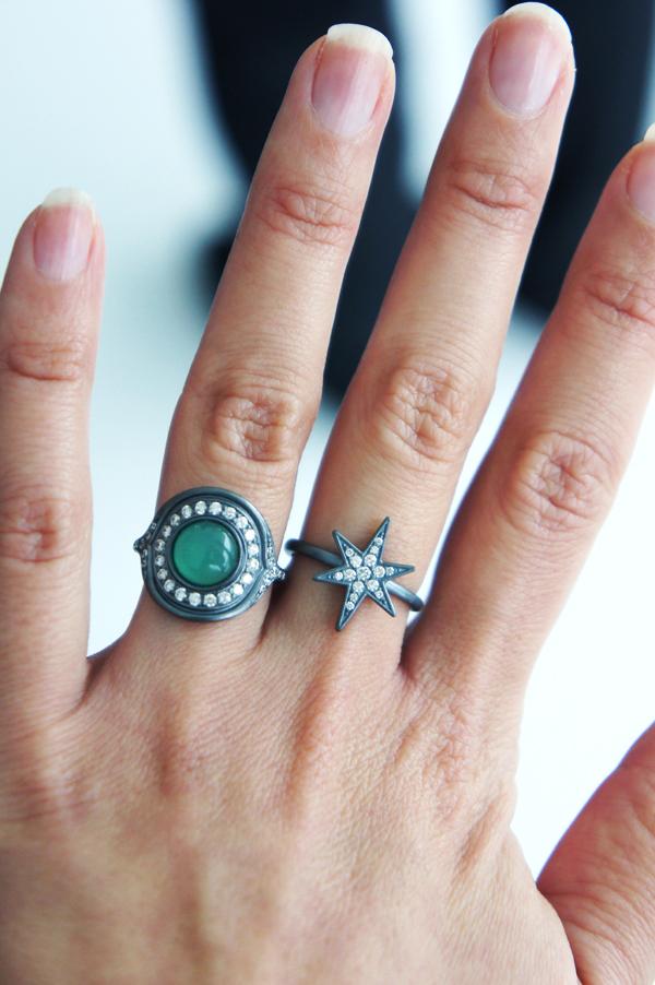 julie sandlau ringe aw13, julie sandlau ringe, julie sandlau green stone, julie sandlau grøn sten ring, julie sandlau stjernering