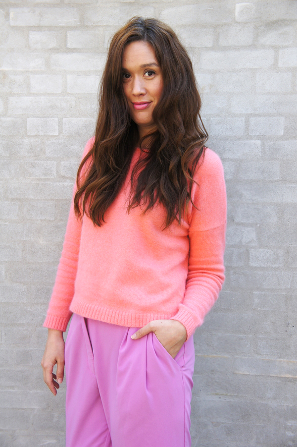 peach strik Vila, pink sweater Vila