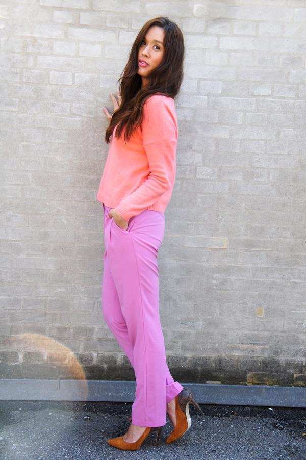 pink pants H&M, lyserøde bukser hm