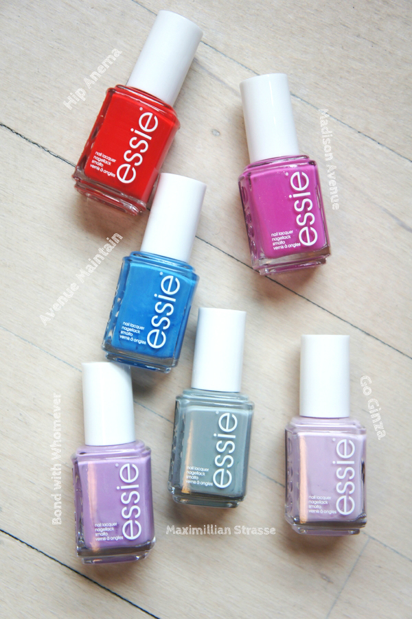 essie Maximillian Strasse, essie Madison Avenue, essie Hip Anema, essie Go Ginza, essie Bond with Whomever, essie Avenue Maintain