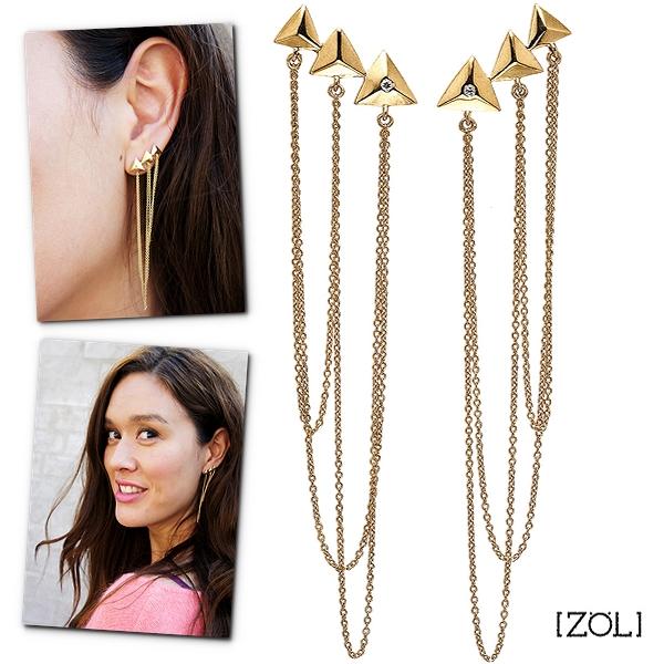 zöl øreringe, vind zöl smykker, zöl guldbelagte øreringe, Forgyldt ørestiktre trekanter med zirkon i forreste trekant