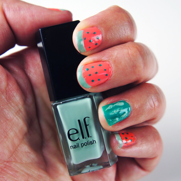 watermelon nails, vandmelon negle, elf neglelak, nail art, watermelon diy