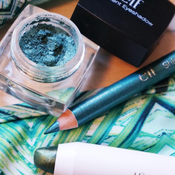 green bikini hm, grøn øjenskygge, elf shimmer eyeliner