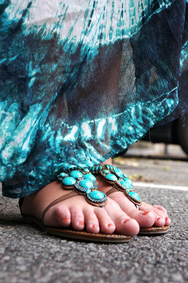 turkise sandaler, sandaler med turkise sten,