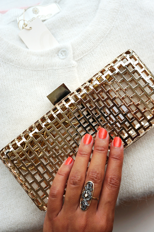 pieces guld clutch, pieces gold clutch, pieces aw 13,