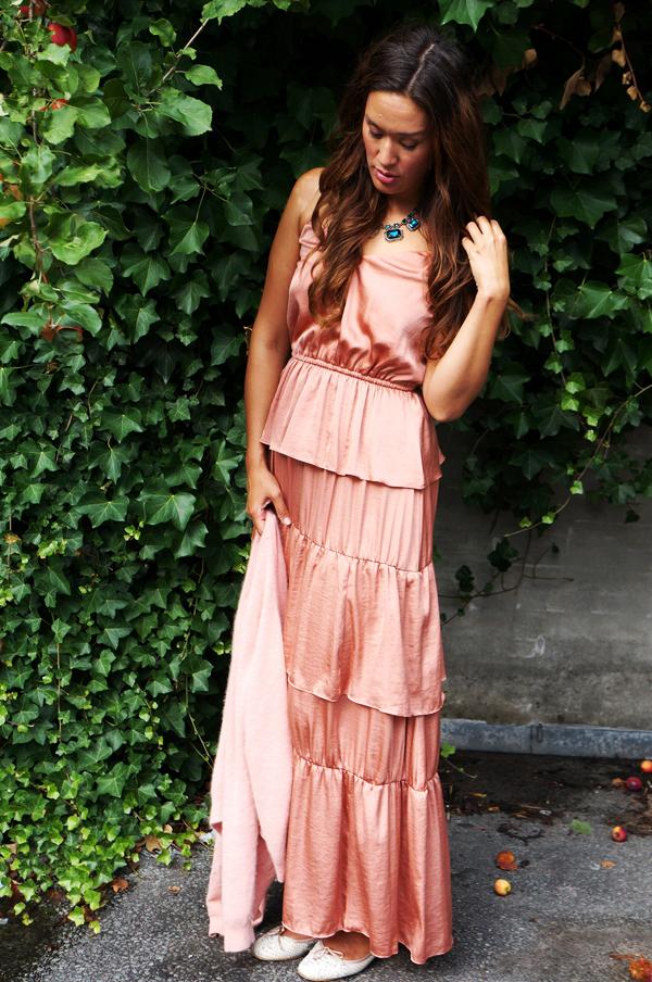lyserød maxikjole, hm maxikjole, pink maxi dress
