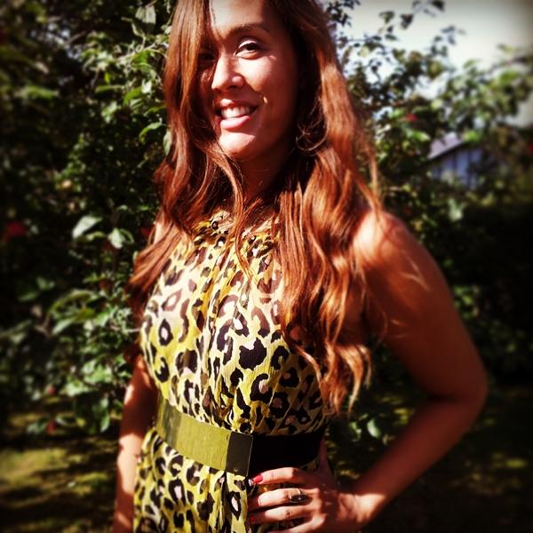 gul leopard kjole, ootd