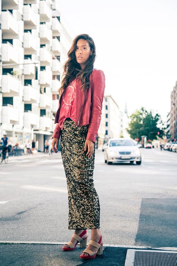 jofama læderjakke, jofama leather jacket, jofama rød jakke, meinliebling, meinliebling sequin skirt, meinliebling nederdel, meinliebling pallietnederdel
