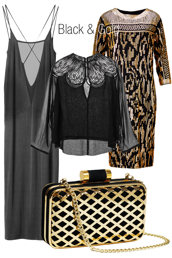 hm, guld, sort kjole, guld clutch, taske hm, lbd H&M aw 13
