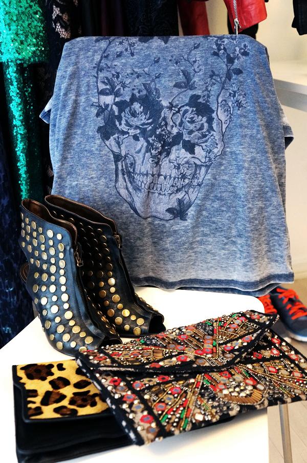nitte sko, se mit garderobeskab, my wardrobe, hm skull t-shirt, boho clutch
