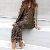 Khaki Military Jacket With Sequin sleeves, omg fashion, web shop uk omg fashion, Leopard Belted Racerback Maxi Dress