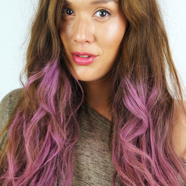 dip dye pink, hair dip dye, passion pink studio elf blush