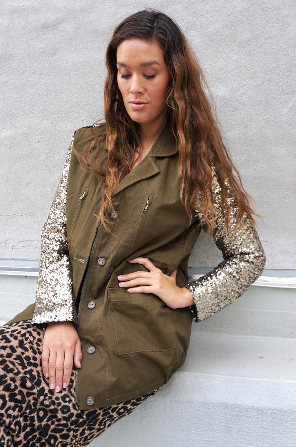 parka med pallietærmer, omg fashion jacket