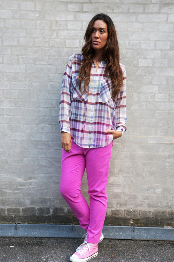 pink pants monki, lyserøde bukser monki, skovmandsskjorte zara