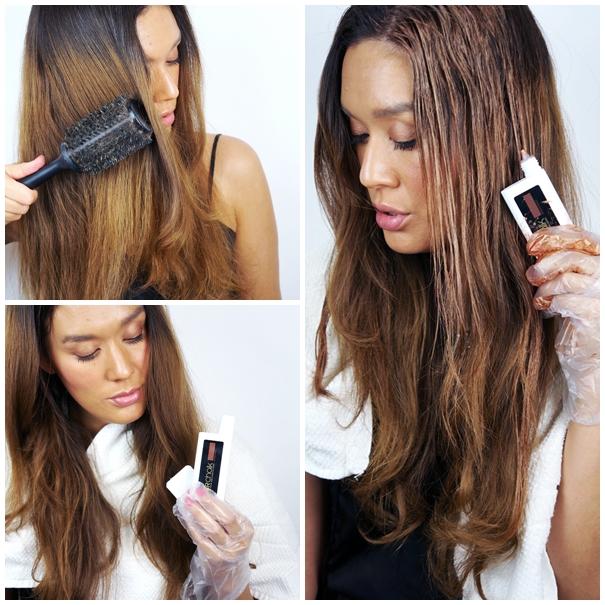 L'Oreal Professionnel Hairchalk and Applicator , how to apply loreal hairchalk, bronze kobber farvet hår, lav selv ombre hår, imidlertidig hår farve, brun hårfarve, flot bronze hår