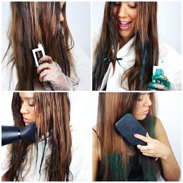 L'Oreal Professionnel Hairchalk and Applicator  Garden Party, lav selv dip dye hår, grøn hårfarve, teal blue green hair colour, dip dye green, dip dye teal, dip dye blå, farverigt ombre hår