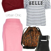 river island, river island blogger, københavn river island, Blue stripe mon belle linen t-shirt, Dark red chunky knitted hat, Pink leather-look pencil skirt, Black cut out block heel snake ankle boots