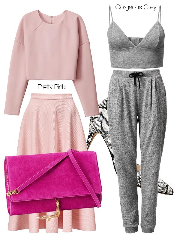 hm spring 2014, hm tøj 2014, nyheder hm, H&M 2014, grå sweatpants, grey top, pink blouse, pink skirt, hot pink clutch, pink taske hm