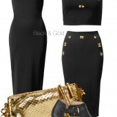 hm 2014, h&M forår 2014, black pencil dress, sort stram kjole, cropped top, kort top, nededel top sæt, guld clutch, gold clutch, sandaler H&M, gold clutch, going out outfit