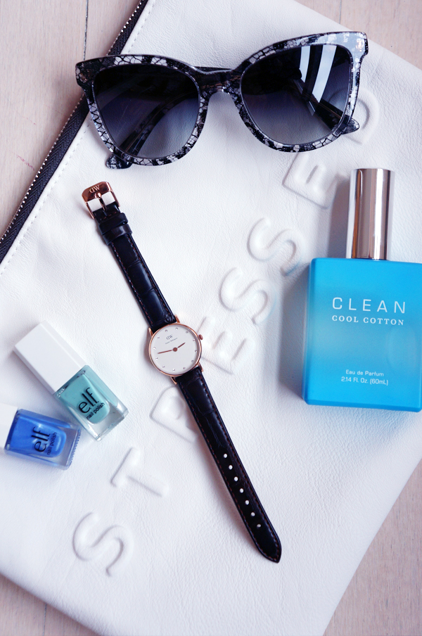 Daniel Wellington, Daniel Wellington ur, Daniel Wellington watch, clean parfume, Cool Cotton Eau de Parfum, CLEAN Cool Cotton, d&g sunglasses, elf nail polish, zara white clutch, stressed but well dressed clutch