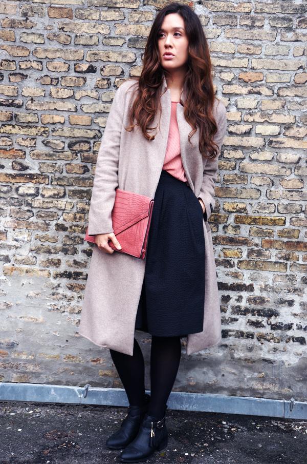 cotten coat, zara frakke, beuge zara jakke, blogger outfit, købehavn blog, blogger tøj, ootd, sort nederdel hm, black skirt hm