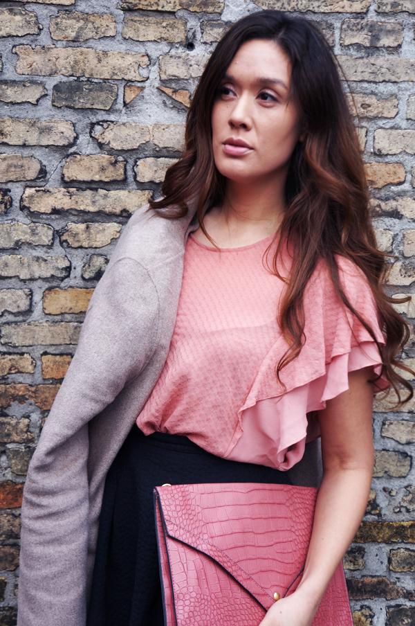 flæsebluse, pink blouse, hm bluse, bluse med flæser, ruffel blouse, pink blouse H&M